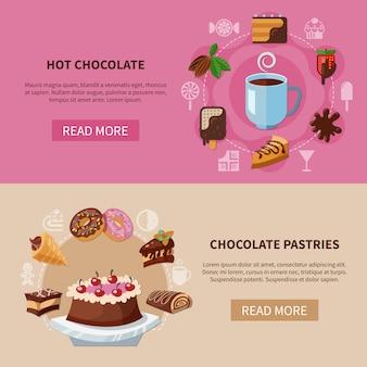 Banners de bebidas y pasteles de chocolate