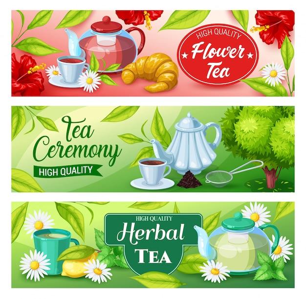 Banners de bebidas de té de bebida verde, herbal, negra