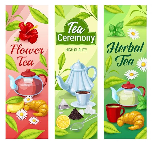 Banners de bebidas de té verde, negro y de hierbas.