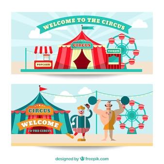 Banners de bienvenida de circo Vector Premium