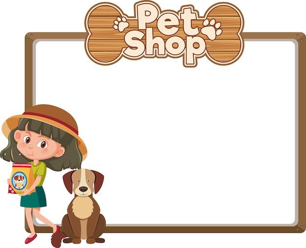 Banners en blanco con niño y lindo perro y logotipo de tienda de mascotas aislado sobre fondo blanco.