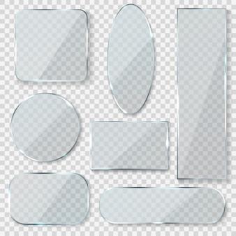 Banners en blanco de vidrio. rectángulo círculo vidrio textura ventana plástico transparente etiquetas con reflejo acrílico paneles brillantes