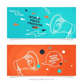 Banners de bocetos de megáfonos para la libertad de prensa
