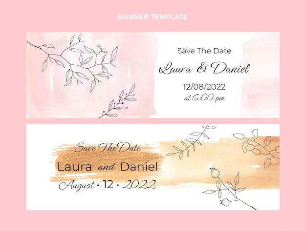 Banners de boda dibujados a mano en acuarela horizontales