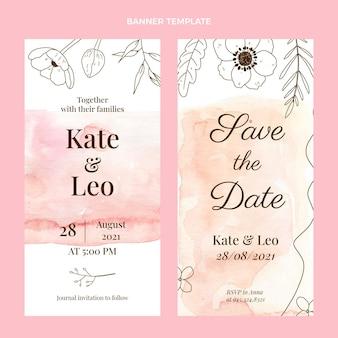 Banners de boda dibujados a mano en acuarela verticales