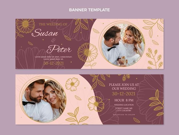 Banners de boda dibujados a mano horizontales