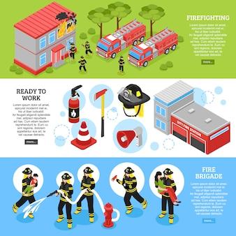 Banners de bomberos isométricos