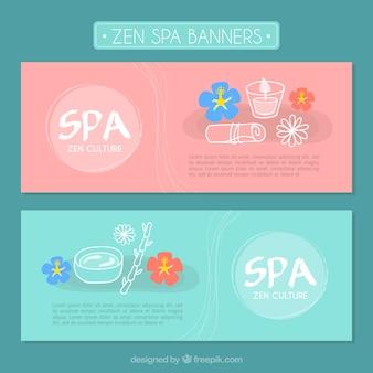Banners bonitos de spa con flores dibujadas a mano y productos de belleza