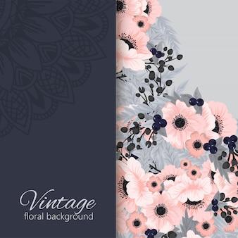 Banners botánicos vintage vector con flor