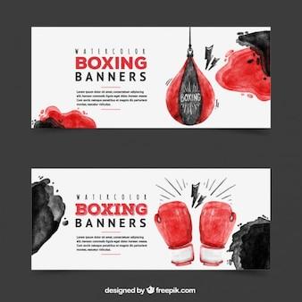 Banners de boxeo de acuarela
