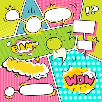 Banners de burbujas emocionales de discurso y sonido cómico conjunto ilustración vectorial plana
