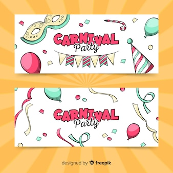 Banners de carnaval dibujados a mano