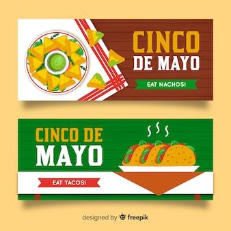 Banners del cinco de mayo dibujado a mano