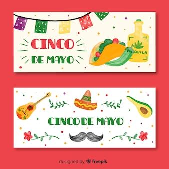 Banners del cinco de mayo dibujados a mano