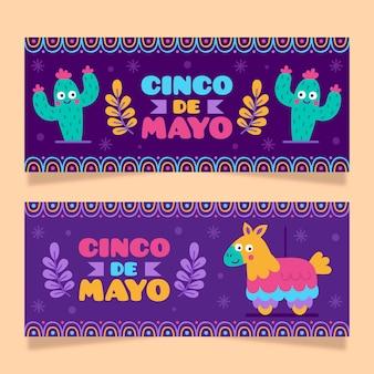 Banners de cinco de mayo dibujados a mano