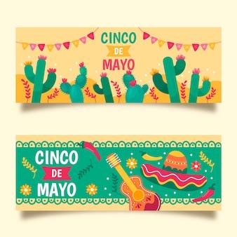 Banners de cinco de mayo de diseño dibujado a mano