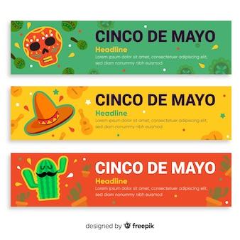 Banners del cinco de mayo en diseño plano