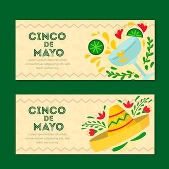 Banners de cinco de mayo en diseño plano