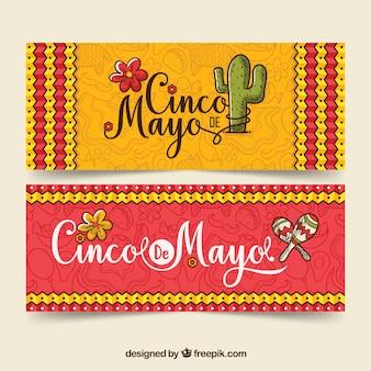 Banners de cinco de mayo con elementos tradicionales