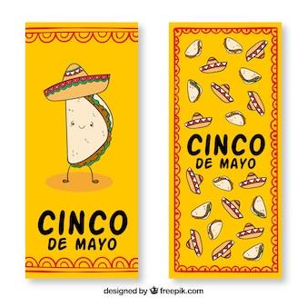 Banners del cinco de mayo con sombreros y comida mexicana tradicional