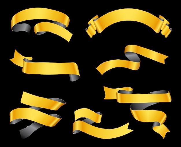 Banners de cinta dorada de lujo