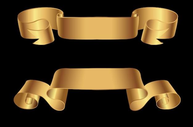 Banners de cinta dorada retro