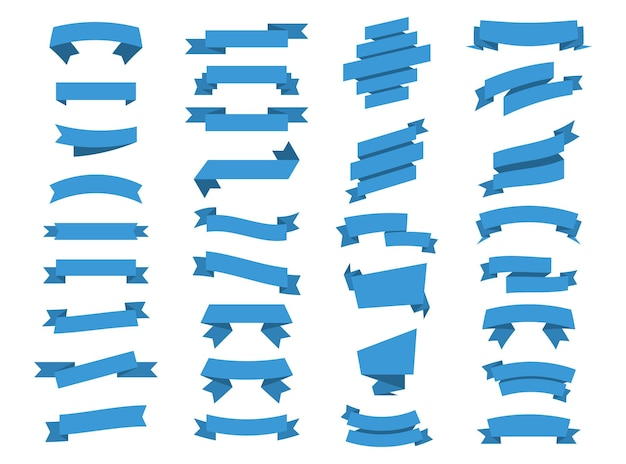 Banners de cintas azules. cinta y pancartas. conjunto de cintas de banner de vector. conjunto de ilustración de cinta azul. banners de cintas aisladas de colección de vectores