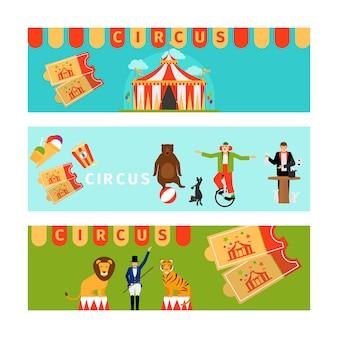 Banners de circo en estilo moderno y plano.
