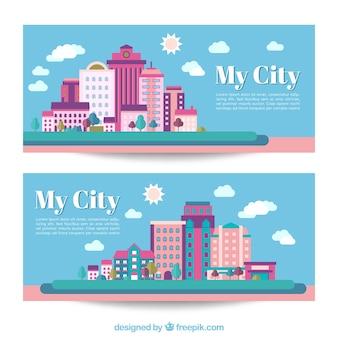 Banners de ciudad en diseño plano