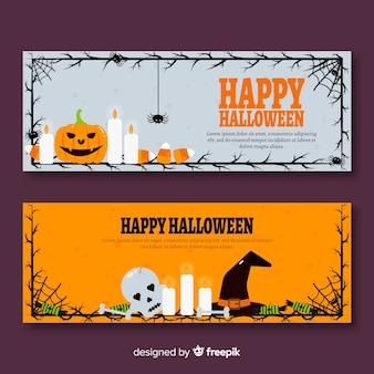 Banners clásicos de halloween con diseño plano