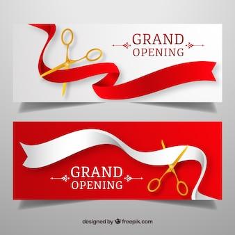 Banners clásicos de inauguración con tijeras doradas