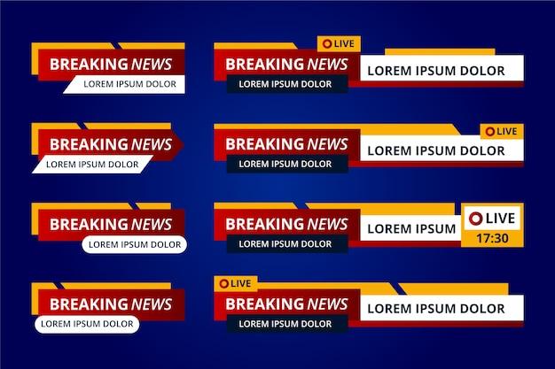 Banners clásicos de noticias de última hora en rojo y amarillo