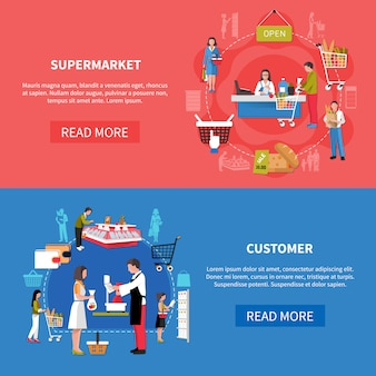 Banners de clientes de supermercados