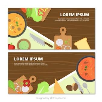 Banners de cocina fantásticos con productos planos