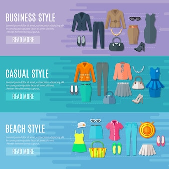 Banners de colección de estilos de moda conjunto de playa de negocios y ropa de mujer casual