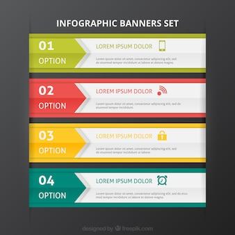 Banners de colores infografía conjunto de plantillas