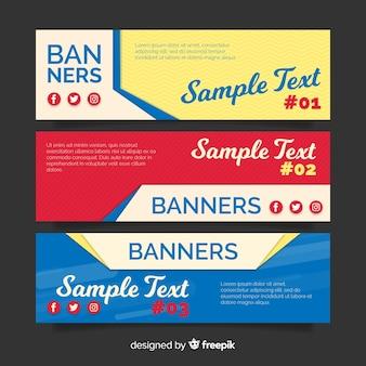 Banners de colores planos