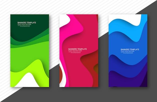 Banners coloridos abstractos papercut set plantilla de diseño