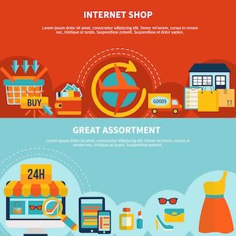 Banners coloridos de compras por internet