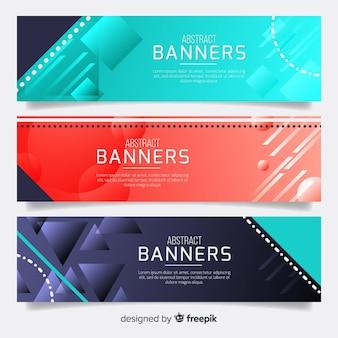 Banners coloridos con diseño geométrico