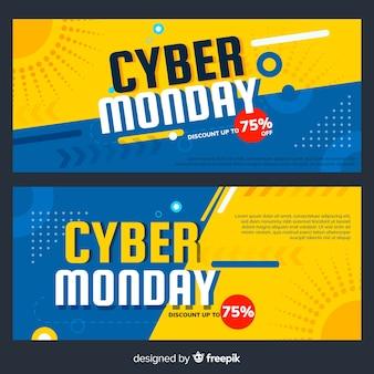 Banners coloridos de cyber monday con diseño plano