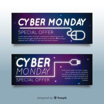 Banners coloridos de cyber monday con estilo de degradado