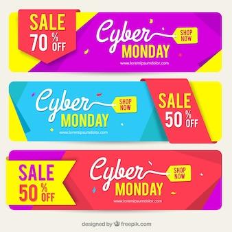 Banners coloridos de cyber monday