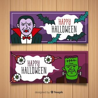 Banners coloridos de halloween con diseño plano