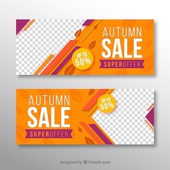 Banners coloridos de rebajas de otoño