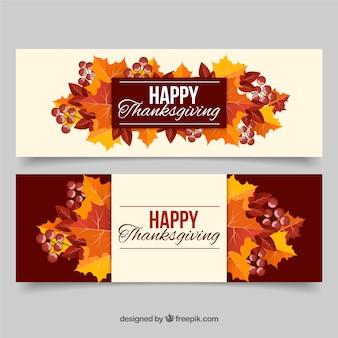 Banners coloridos de thanksgiving con hojas