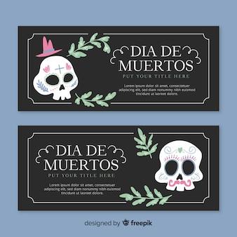 Banners coloridos del día de los muertos dibujados a mano