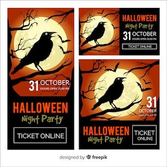 Banners coloridos de halloween con diseño realista