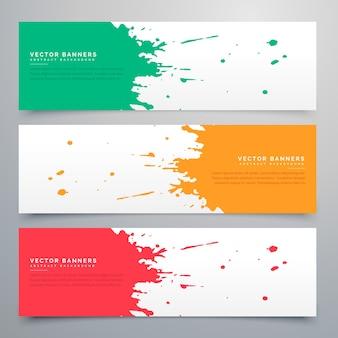 Banners coloridos de manchas de acuarela