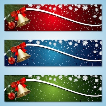 Banners coloridos de navidad y año nuevo